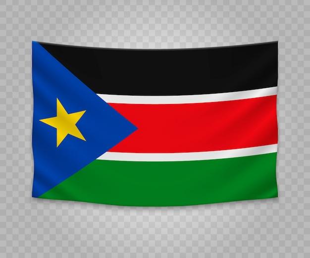 Realistische hängende flagge des südsudan