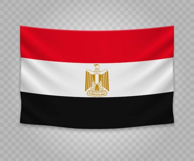 Realistische hängende flagge von ägypten