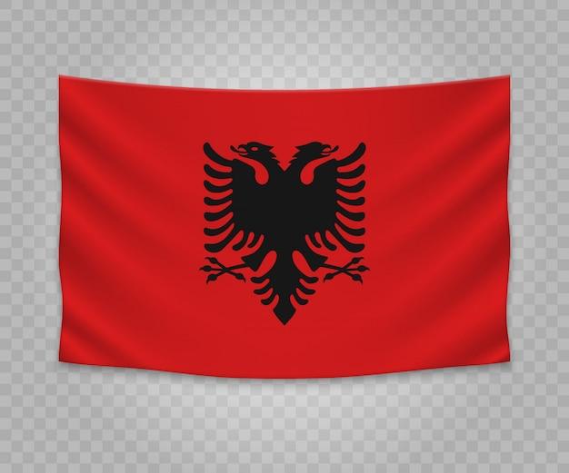 Realistische hängende flagge von albanien