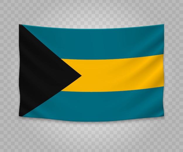 Realistische hängende flagge von bahamas