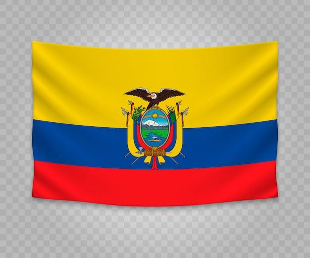 Realistische hängende flagge von ecuador