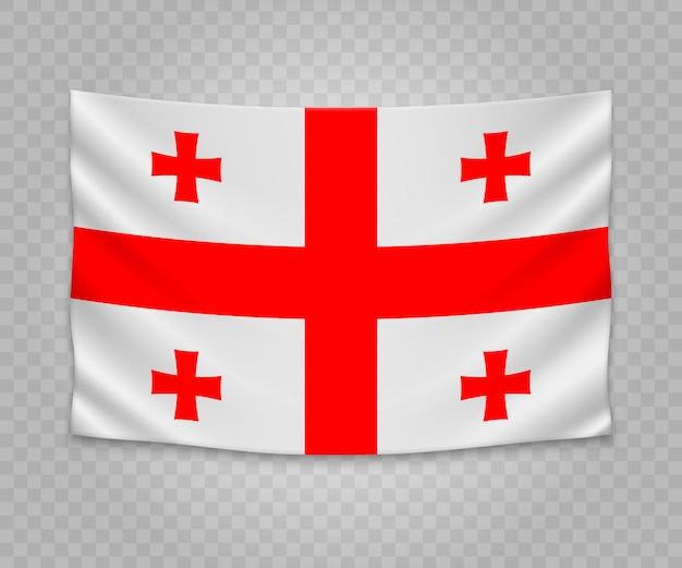 Realistische hängende flagge von georgia