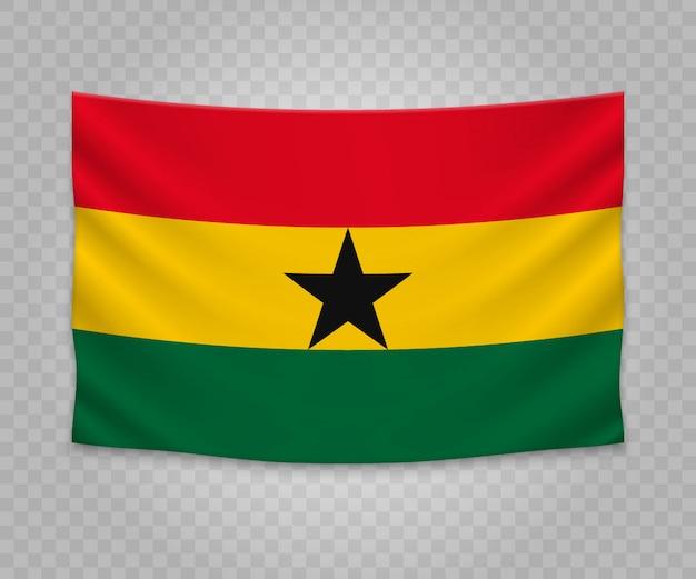 Realistische hängende flagge von ghana