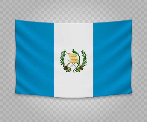 Realistische hängende flagge von guatemala