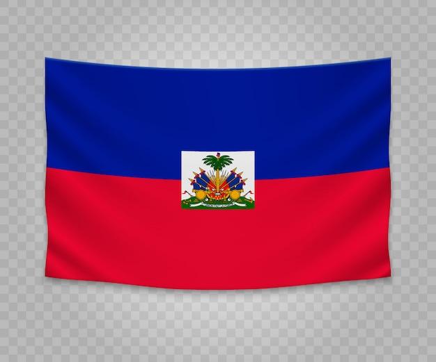 Realistische hängende flagge von haiti