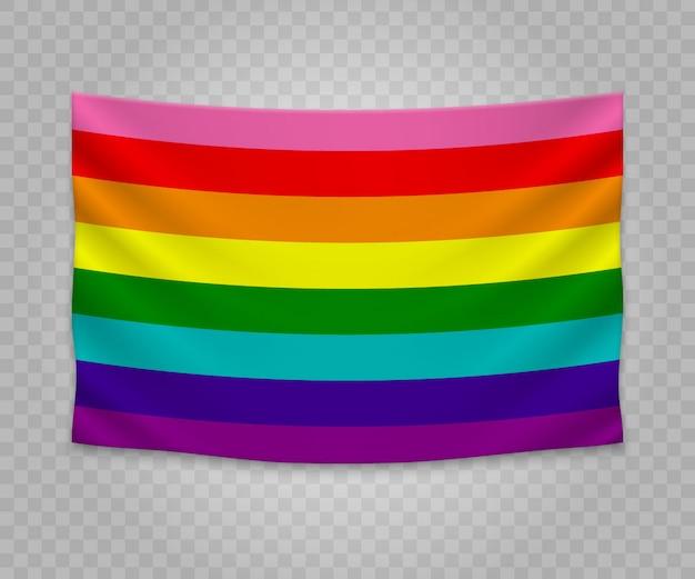Realistische hängende flagge von homosexuell