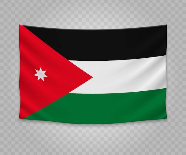 Realistische hängende flagge von jordanien