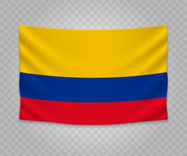 Realistische hängende flagge von kolumbien