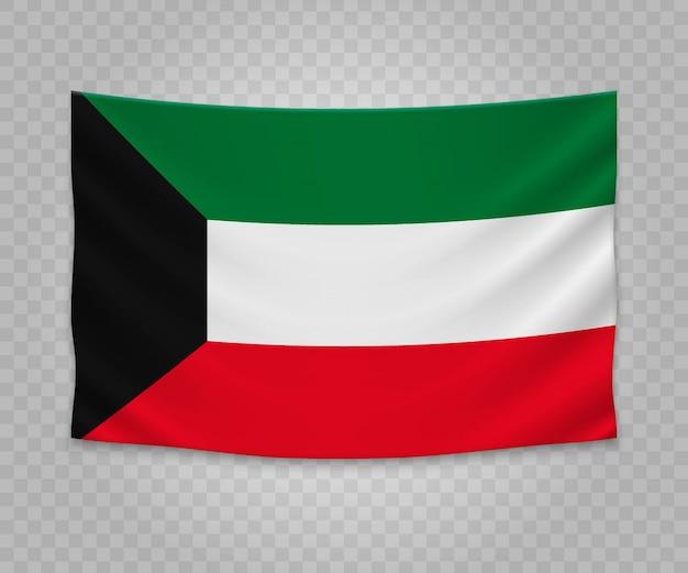 Realistische hängende flagge von kuwait