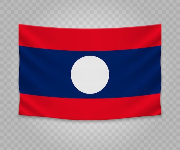 Realistische hängende flagge von laos
