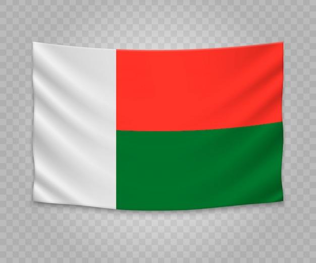 Realistische hängende flagge von madagaskar