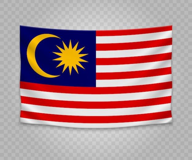Realistische hängende flagge von malaysia