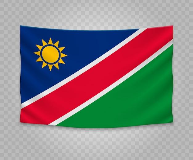 Realistische hängende flagge von namibia
