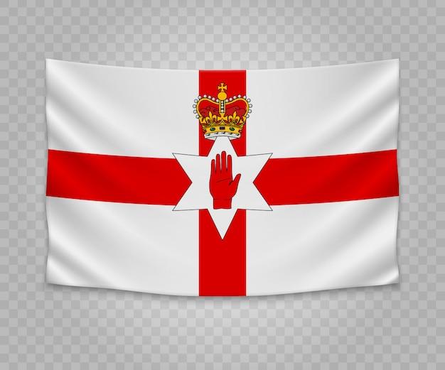 Realistische hängende flagge von nordirland
