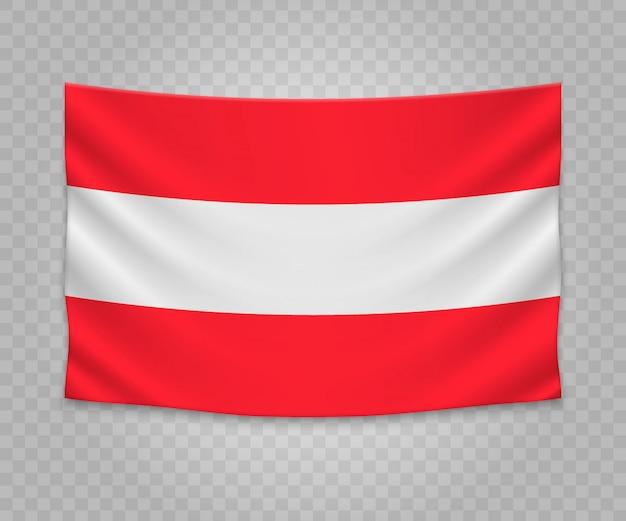 Realistische hängende flagge von österreich