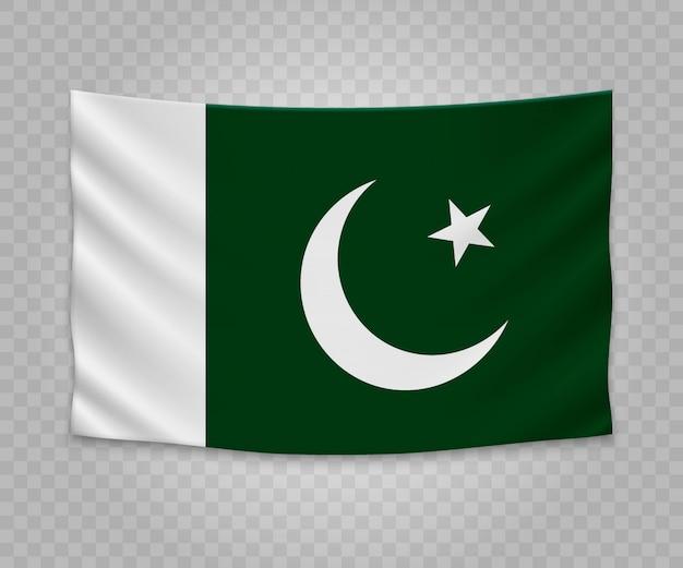 Realistische hängende flagge von pakistan