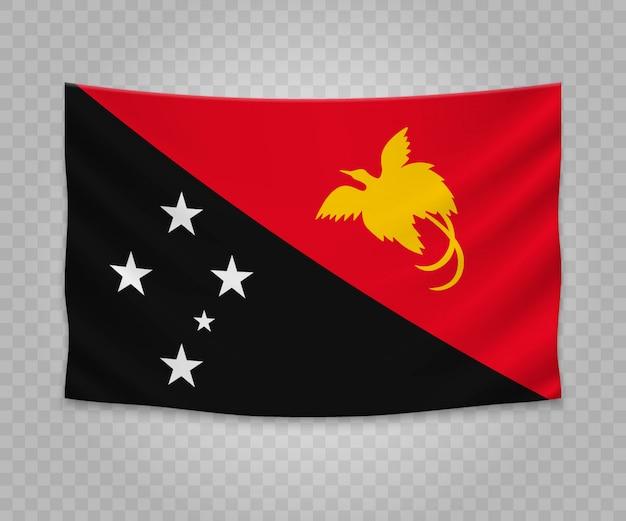 Realistische hängende flagge von papua-neuguinea