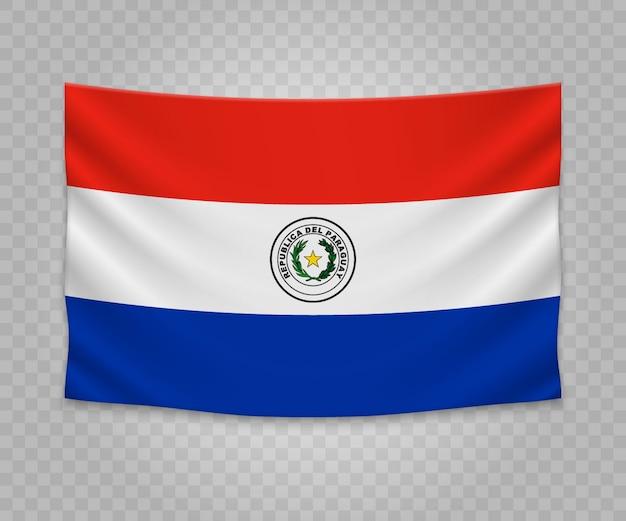 Realistische hängende flagge von paraguay