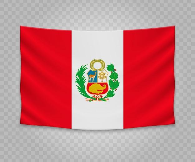 Realistische hängende flagge von peru