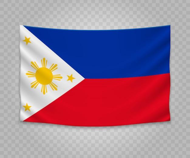 Realistische hängende flagge von philippinen