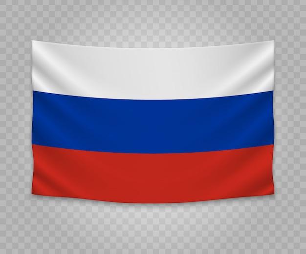 Realistische hängende flagge von russland
