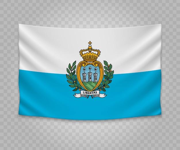 Realistische hängende flagge von san marino