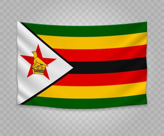 Realistische hängende flagge von simbabwe