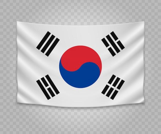 Realistische hängende flagge von südkorea