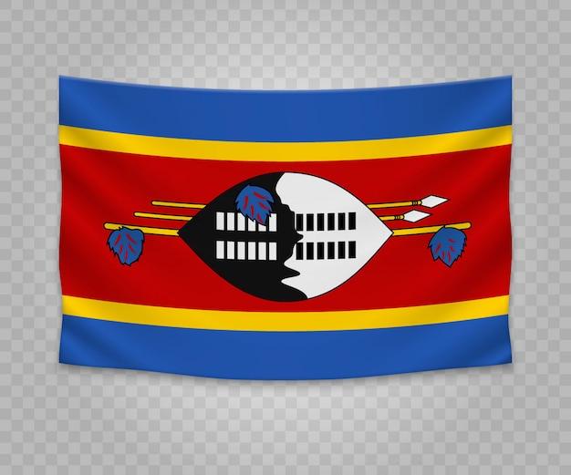 Realistische hängende flagge von swasiland