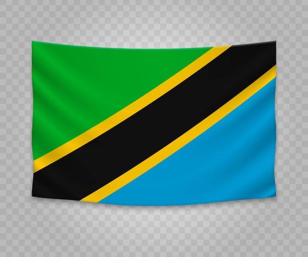 Realistische hängende flagge von tansania