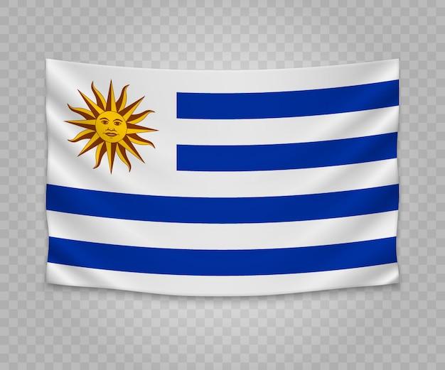 Realistische hängende flagge von uruguay