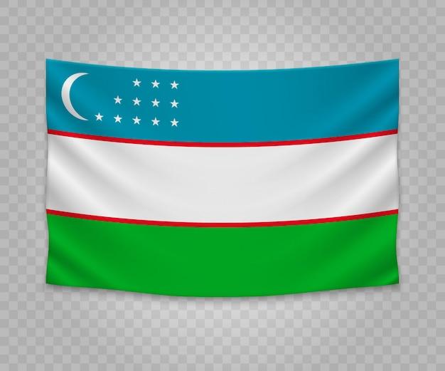 Realistische hängende flagge von usbekistan