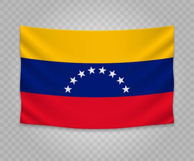 Realistische hängende flagge von venezuela