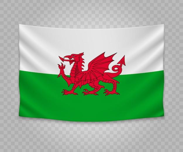 Realistische hängende flagge von wales