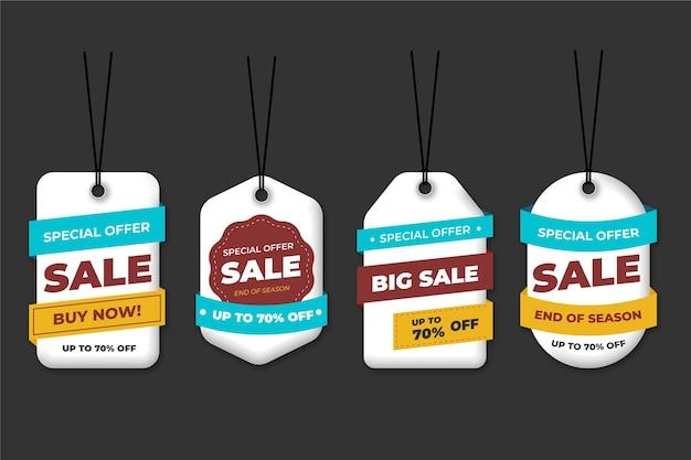Realistische hängende verkaufsaufkleberansammlung