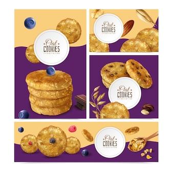 Realistische haferkekse mit bannern unterschiedlicher größe mit bearbeitbaren textrahmen und keks