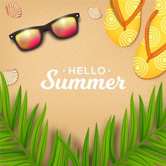 Realistische hallo sommer sonnenbrille und hausschuhe