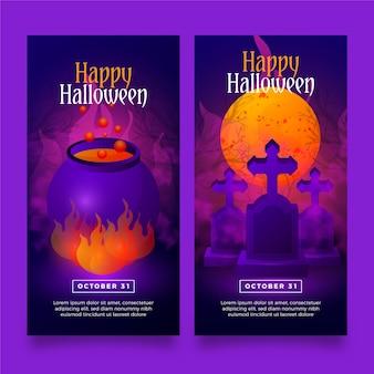 Realistische halloween-bannerschablone