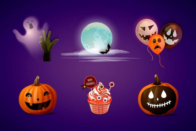 Realistische halloween-elementsammlung