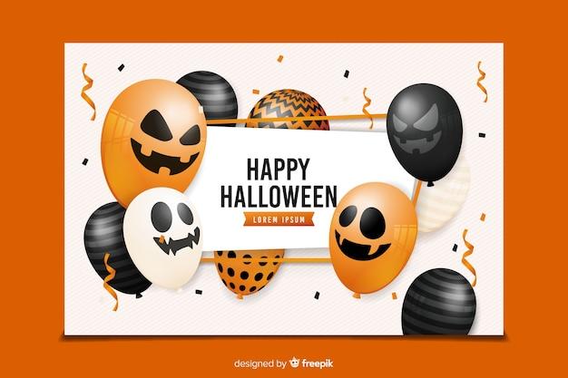 Realistische halloween-fahnen mit vielzahl von ballonen