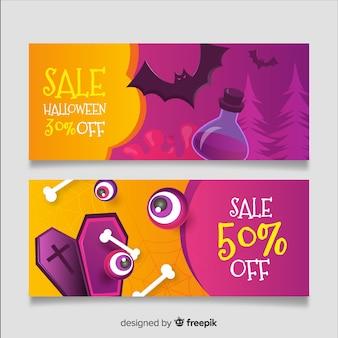 Realistische halloween-fahnen purpurrot und orange