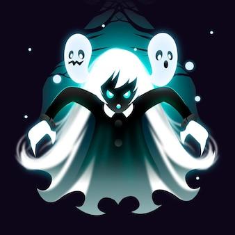 Realistische halloween-geisterillustration