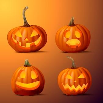 Realistische halloween-kürbiskollektion