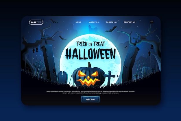 Realistische halloween-landingpage-vorlage