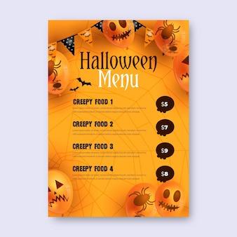 Realistische halloween-menüvorlage