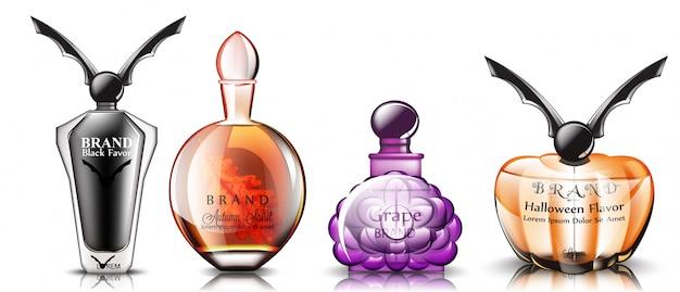 Realistische halloween-parfüm-sammlung