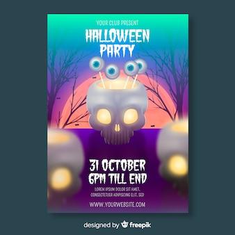 Realistische halloween party flyer vorlage
