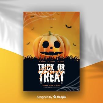 Realistische halloween-party-plakat-vorlage
