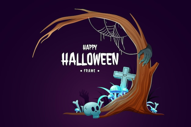 Realistische halloween-rahmenschablone