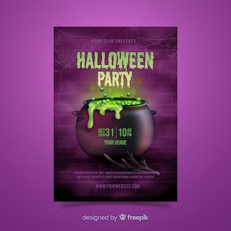 Realistische halloween schmelztiegel flyer vorlage